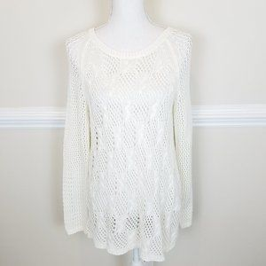 Jessica Simpson Split Back Crochet Knit Top A1410